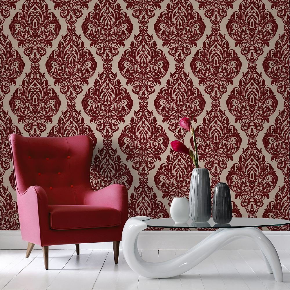 Awesome papier peint salon rouge images amazing house for Papier peint salon gris